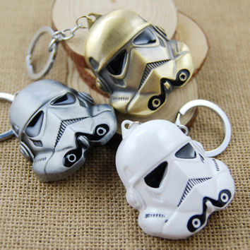 1PCS- KC044 marvel lucasfilm star wars Animation metal face keychain 3D Storm Trooper KeyChains Movie Warrior Mask Key Chains