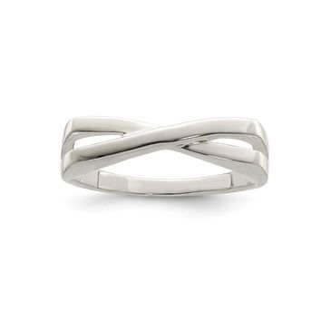 925 Sterling Silver Polished Criss Cross Ring