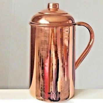 Pure Copper Pitcher (in/ out) with lid cover 62 oz Jug Ayurveda Yoga Health