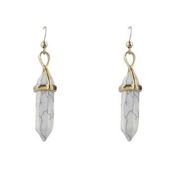 Marble Howlite Large Pointed Earrings