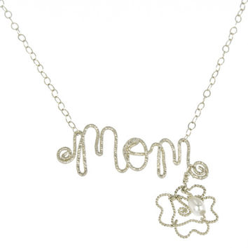 Mom Written Out With Flower and Pearl Necklace
