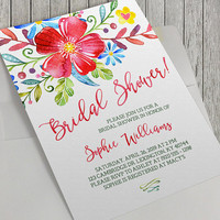 Printable Bridal Shower Invitation, 5x7 Inch, Red Watercolor Floral Bouquet Bridal Shower, Watercolor Flowers, Spring Flowers, Bridal
