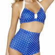 Sexy Blue With White Polka Dot Pin Up High Waist Halter Top Vintage Bikini