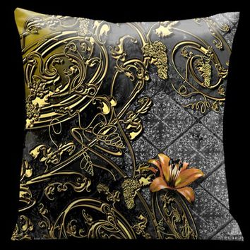 Lama Kasso 106 Como Gardens Grey to Black with Gold Grapevines and Orange Floral Accents 18 x 18 Satin Pillow