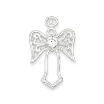 Sterling Silver CZ Angel Pendant