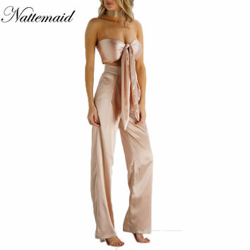 2016 Women 2 pieces Sets Ladies tie up Tops+long pants suits Fashion silk matieral high quality Bandage loose plus size clothing