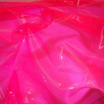 Pink 10 Gauge Transparent Tinted Plastic Vinyl Tinted 54 Inch Wide Fabric By the Yard