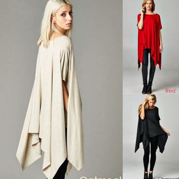Cherish Poncho Tunic Top -Oatmeal-Red-Charcoal