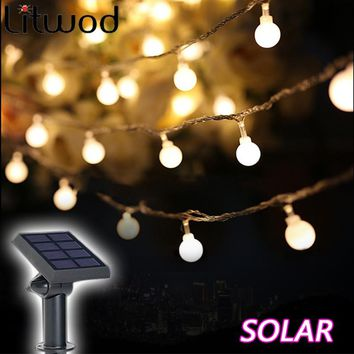 Litwod z30 Solar Lamps Outdoor lighting 50 Beads 7 Meters String LED Starry Light Rope patio Decor Fairy Icicle Lighting String