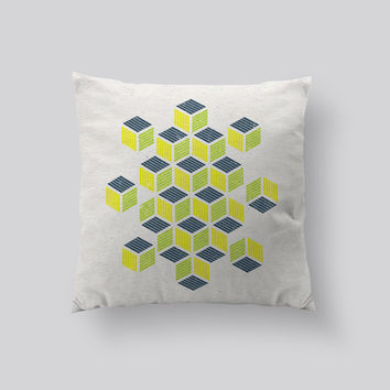 Throw Pillows for Couches / Yellow Navy Squares by RSKS Design