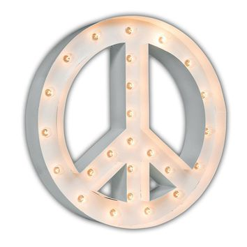 "24"" Peace Sign Marquee Sign with Lights (White Gloss)"