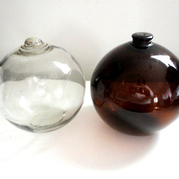 "Japanese Glass Fishing Float Hand blown 5.5"" Pair"