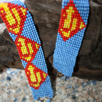 Superman woven loom beaded bracelet- choose 1 Geek Nerdy sprite pixel