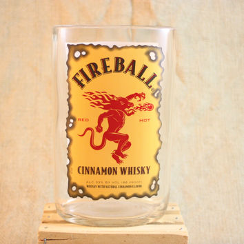 Vase Upcycled from Fireball® Cinnamon Whisky Bottle, Recycled Liquor Bottle, Handmade Vase, Cinnamon Whiskey, Flower Vase