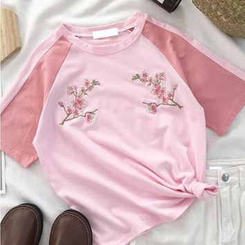 Sakura Embroidered Tee