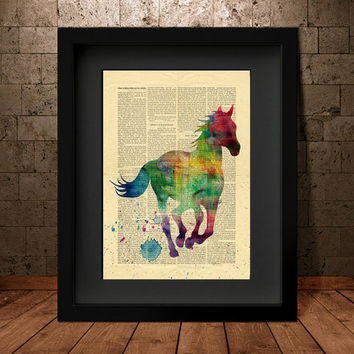 Colorful Horse Watercolor Painting, Horse Decor Watercolor, Horse painting Wall Art Print, Horse Print, Watercolour Horse Art PRINT (19)