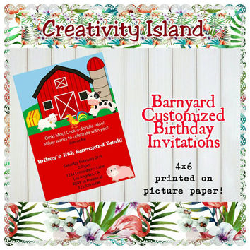 Barnyard, Pig and Rooster Birthday Invitations. 4x6, picture paper, printed and shipped. Farm, barn, pig, rooster, red, green, animals.