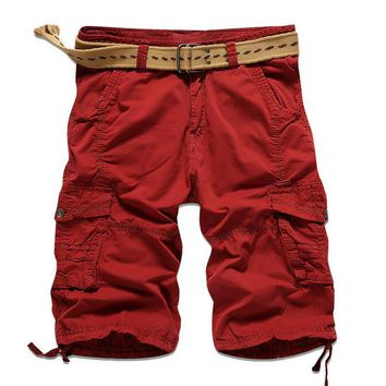 New 2017 Summer Outdoor Sport cargo Cotton Solid Color Army Military Men Straight Hiking Camping Mountain climbing Baggy Shorts