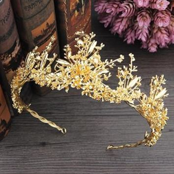 Gold/Silver Tiara Wedding Leaf Branch Renaissance Crown