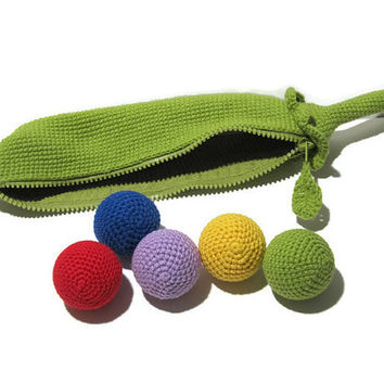 Pea pod Toy crochet color sound balls counting learning development auditory memory motor skills Montessori Toddler Toys kids gift child
