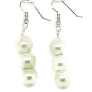 Ivory Triple Glass Pearl Earrings