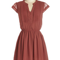 ModCloth Short Length Cap Sleeves A-line Ready, Russet, Go! Dress