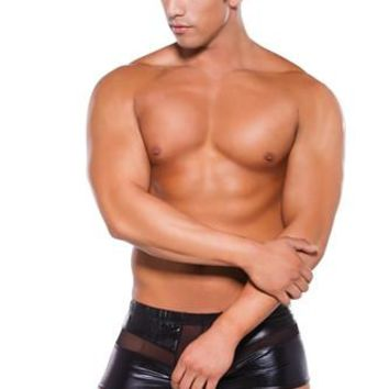 Wet Look Peek-a-Boo Shorts - Black - One Size
