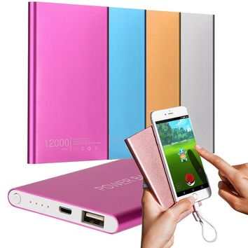 vovotrade Ultrathin 12000 mAh Portable USB Battery Charger Power Bank For Iphone Smart Cell Phones Includes a charging cable