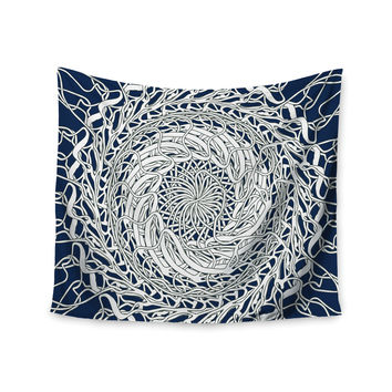 "Patternmuse ""Mandala Spin Navy"" Blue White Wall Tapestry"