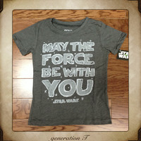 Mini Fine Vintage Star Wars Crayon May The Force Be With You Toddler T-Shirt