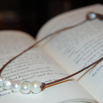 Freshwater Pearl and Leather Necklace by authenticaboutique