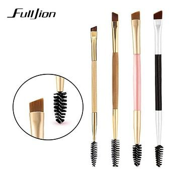 Fulljion Pro 1pcs Makeup Eyebrow Brush + Eyebrow Comb Portable Double Bamboo Handle Eyebrow Makeup Brushes For Eyes Makeup Tools