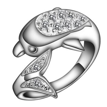 Zircon Dolphin Crystal Ring