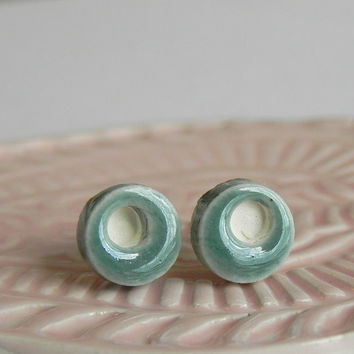 Tiny Stud Earrings Peacock Geometric Ceramic Post Mother's Day Gift Hypoallergenic Modern Pottery Jewelry Minimalist Geometric Ear Post