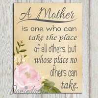 Mothers day gift idea print Watercolor Flower print Printable mother quote wall art Gift for Mom Mum 11x14, 5x7, 8x10 INSTANT DOWNLOAD DIY