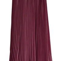 Elastic Waist Pleated Maxi Skirt