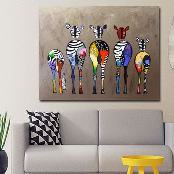 Abstract Art Cartoon Zebra Colorful Picture Poster Print Canvas Printing Wall Art Animal Picture For Kid's Room Home Decor