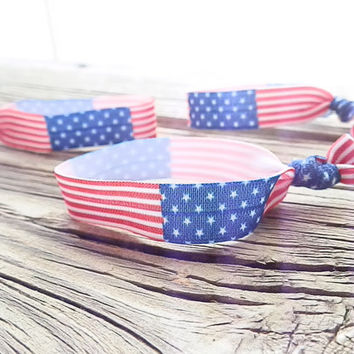 Patriotic American Flag hair ties Patriotic elastic wrap American flag hair band Red white and Blue hair accessory Bracelet Bun Wraps