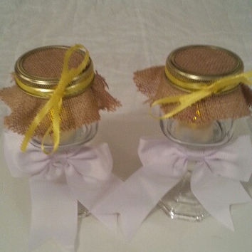 Burlap white yellow wedding candle jar / center piece set. Any color to match your wedding