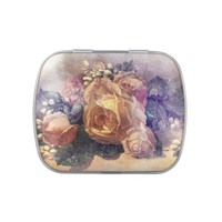 Vintage Colorful Rose Jelly Belly Tin
