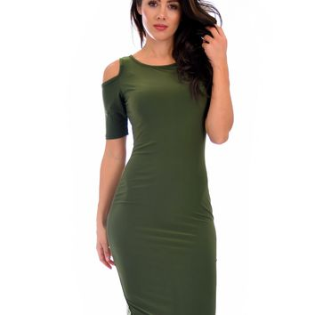 Lyss Loo Love Me Completely Cold Shoulder Olive Bodycon Midi Dress