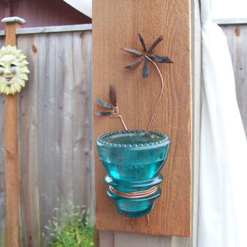 antique insulator wall sconce vase candle holder with obsidian and copper