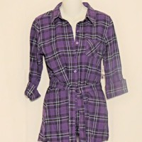 OP Flannel  Shirt Junior Size S Plaid New Purple