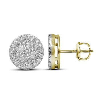 10kt Yellow Gold Womens Round Diamond Cluster Stud Earrings 1-1-2 Cttw