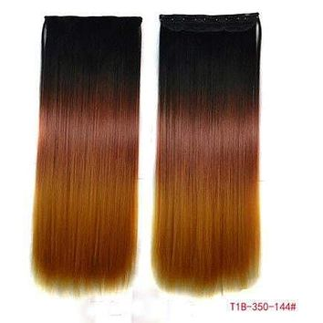 24'' Long Straight Ombre Colored Natural Clip In Hair Extensions