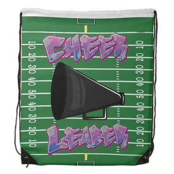 Cheerleader on Football Field Drawstring Backpack