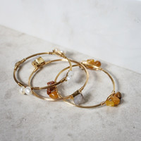 Set of 3 Bracelets in Gold and White
