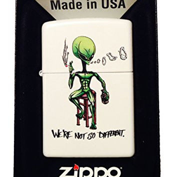 Zippo Custom Lighter - 'We're Not So Different' Alien Smoking & Drinking 214CI017664