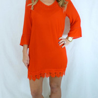 Crochet Shift Dress: Fire