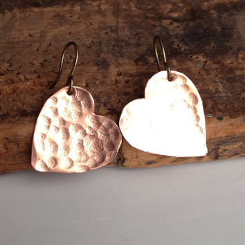 Etsy, Etsy Jewelry, Heart Earrings, Copper Earrings, Hammered Earrings, Metalwork Earrings, Valentine Earrings, Unique, Kitschy